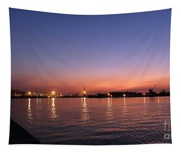 Kaohsiung Port At Dusk Tapestry
