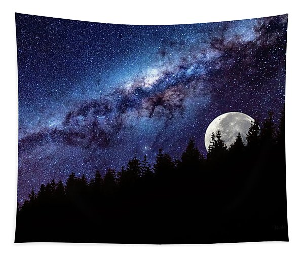 Moon Rise In Montana Tapestry