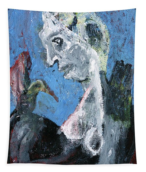 Portrait With A Bird Tapestry
