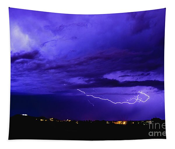 Rays In A Night Storm With Light And Clouds. Tapestry