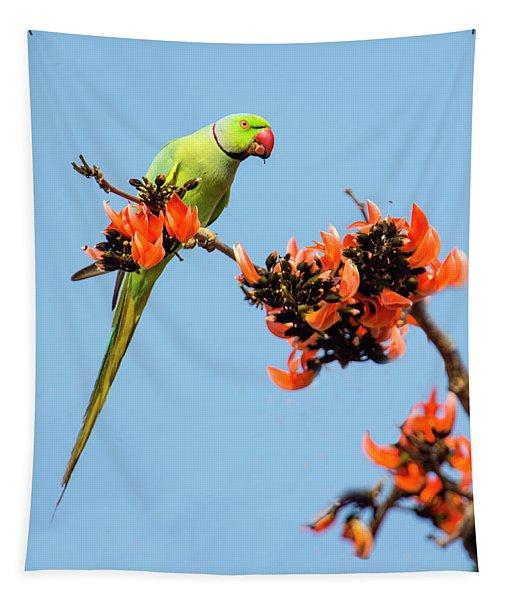Rose-ringed Parakeet Psittacula Krameri Tapestry