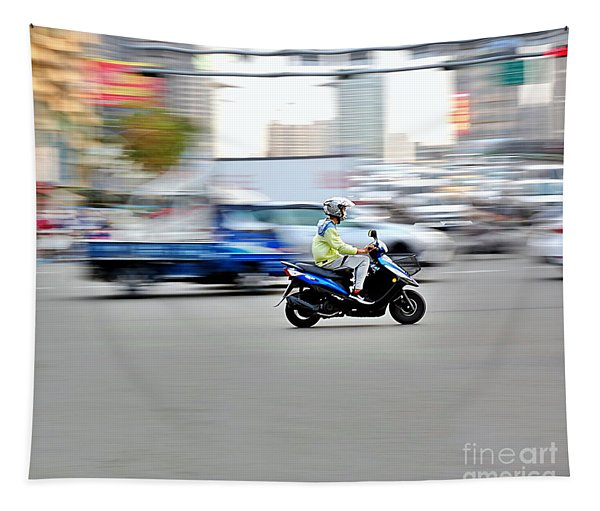 Scooter Traffic In Taiwan Tapestry