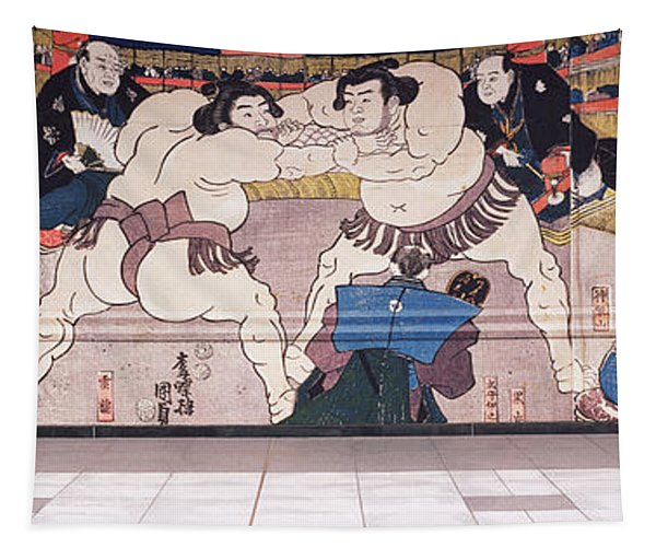 Sumo Wrestling Mural On A Wall, Ryogoku Tapestry