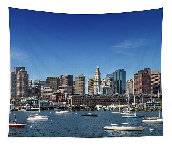 Boston Skyline North End And Financial District Tapestry by Melanie Viola