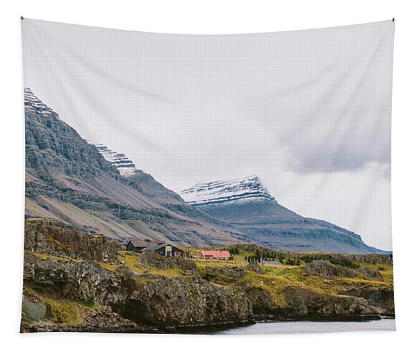 High Icelandic Or Scottish Mountain Landscape With High Peaks And Dramatic Colors Tapestry