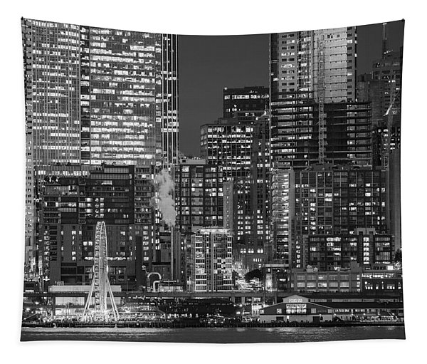 Illuminated City At Night, Seattle Tapestry
