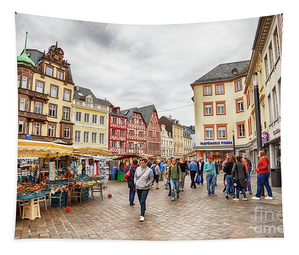 Trier, Germany,  People By Market Day Tapestry