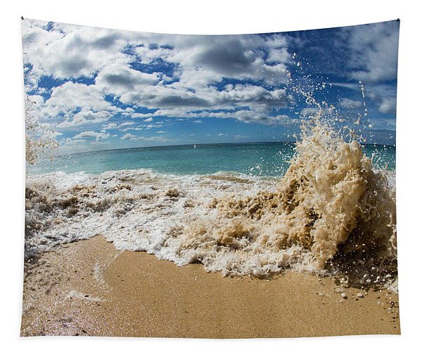 View Of Surf On The Beach, Hawaii, Usa Tapestry