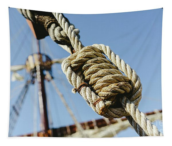 Rigging And Ropes On An Old Sailing Ship To Sail In Summer. Tapestry