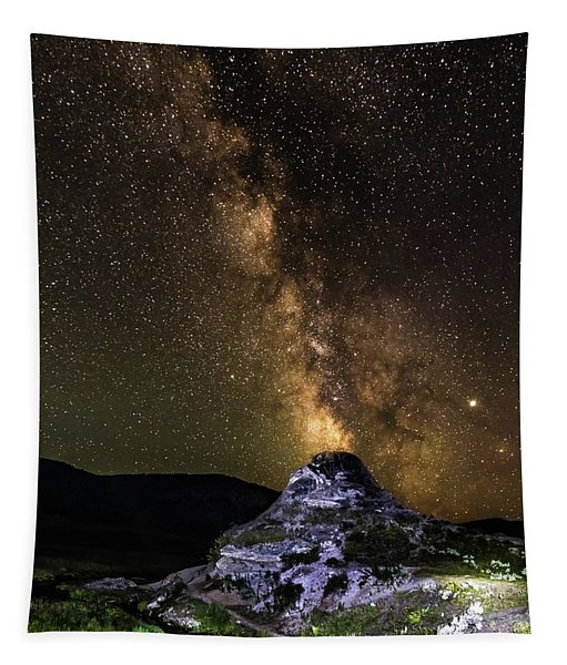 Soda Butte Spewing Out Milky Way Galaxy Like Volcano In Yellowst Tapestry