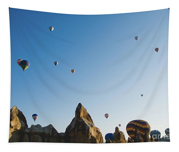 Colorful Balloons Flying Over Mountains And With Blue Sky Tapestry