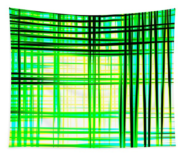 Abstract Design With Lines Squares In Green Color Waves - Pl409 Tapestry