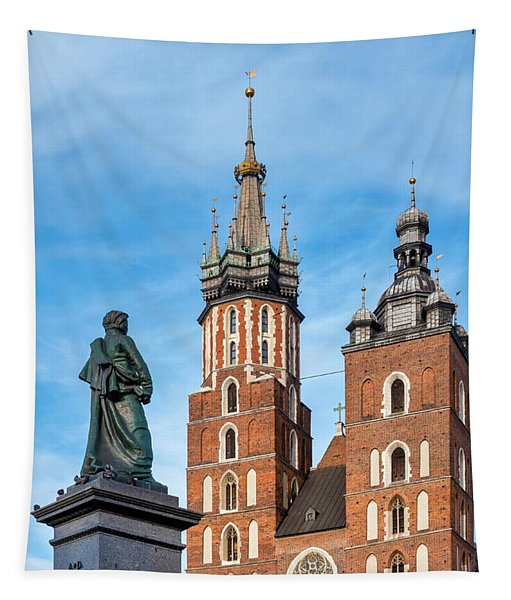 Adam Mickiewicz Monument And Saint Mary Basilica Tapestry
