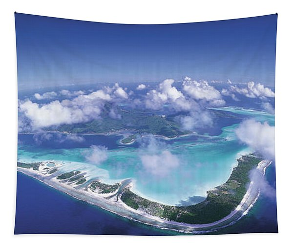 Aerial Bora Bora French Polynesia Tapestry