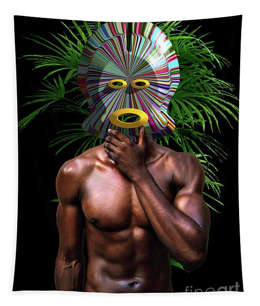 African Masked Man Tapestry