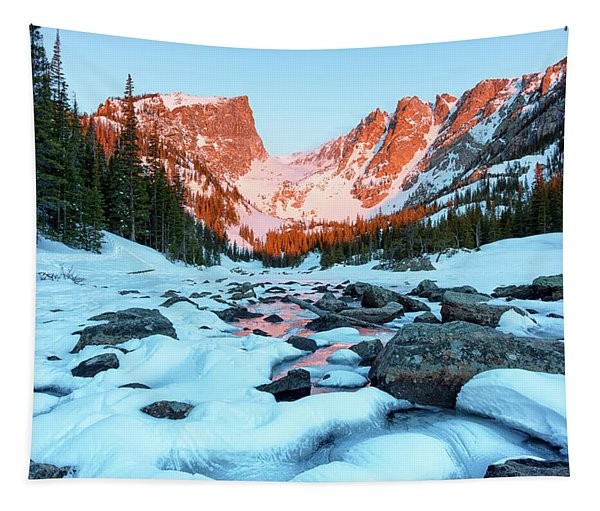Alpenglow At Dream Lake Rocky Mountain National Park Tapestry