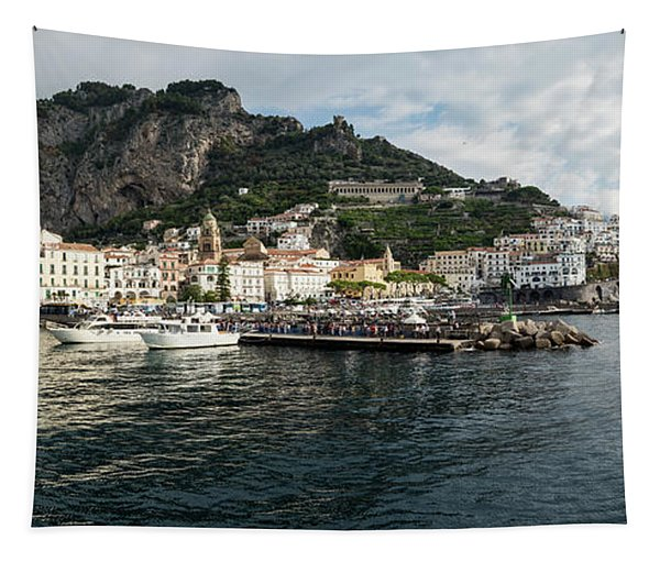 Amalfi Town Seen From Ferry Approaching Tapestry