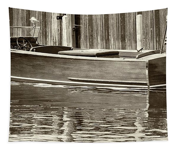 Antique Wooden Boat By Dock Sepia Tone 1302tn Tapestry