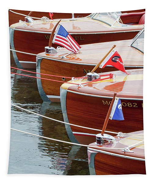 Antique Wooden Boats In A Row Portrait 1301 Tapestry