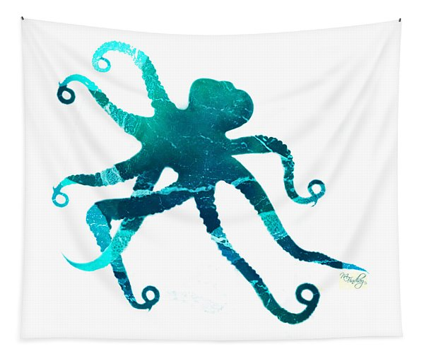 Art Sea Octopus In Turquoise Tapestry