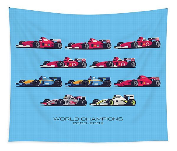 F1 World Champions 2000s - Blue Tapestry