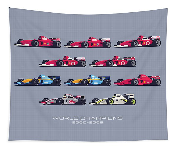 F1 World Champions 2000s - Slate Tapestry
