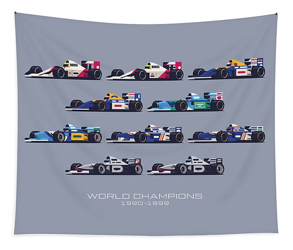 F1 World Champions 1990s - Slate Tapestry