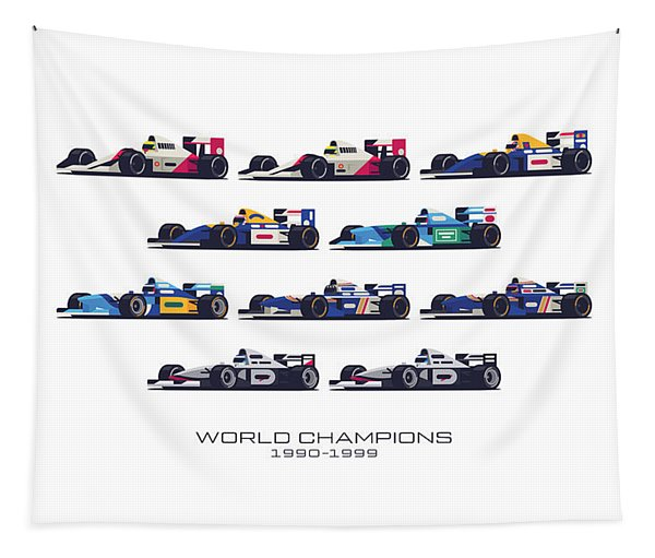 F1 World Champions 1990s - White Tapestry