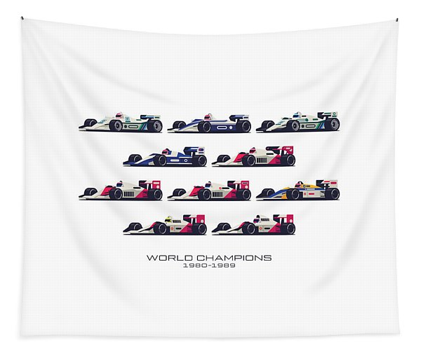 F1 World Champions 1980s - White Tapestry