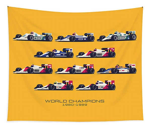 F1 World Champions 1980s - Yellow Tapestry