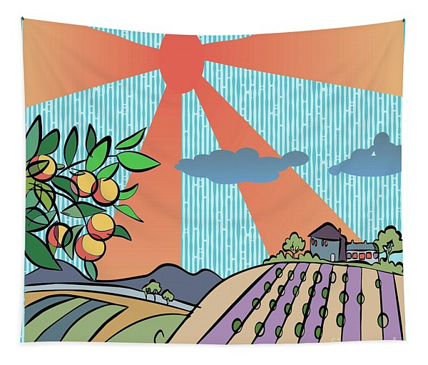 Autumn Harvest Illustration Tapestry