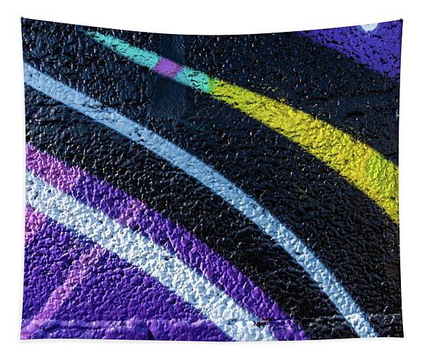Background With Wall Texture Painted With Colorful Lines. Tapestry