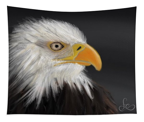 Tapestry featuring the pastel Bald Eagle by Fe Jones