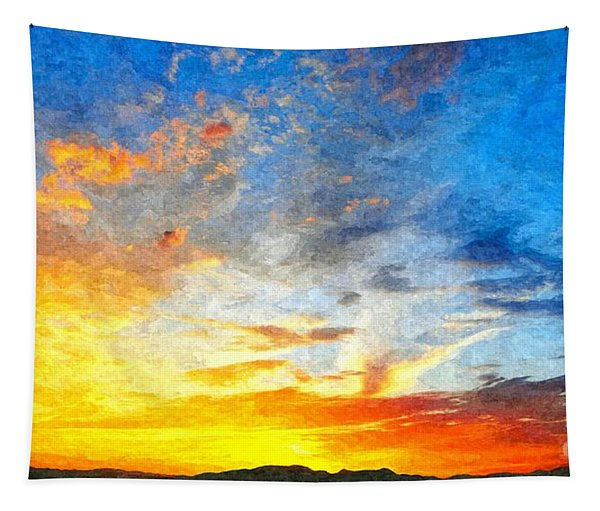 Beautiful Sunset In Landscape In Nature With Warm Sky, Digital A Tapestry