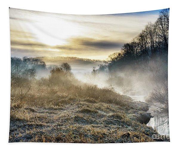 Big Ditch Run Misty Sunrise Tapestry