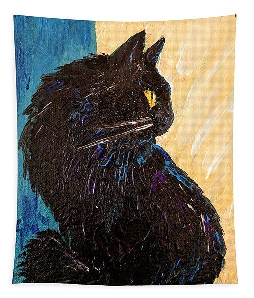 Black Cat In Sunlight Tapestry