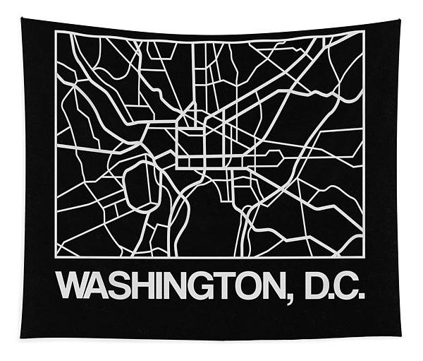 Black Map Of Washington, D.c. Tapestry