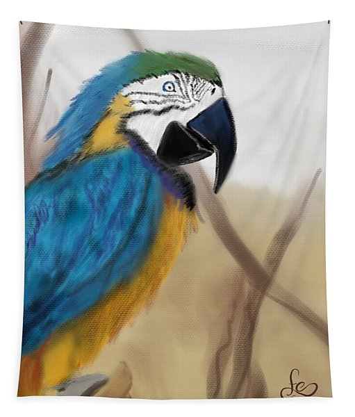 Tapestry featuring the digital art Blue Parrot by Fe Jones