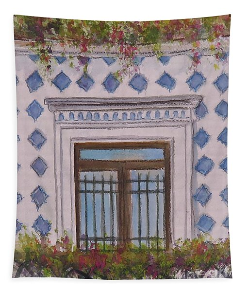 Blue Tiled Balcony Of Amalfi Tapestry