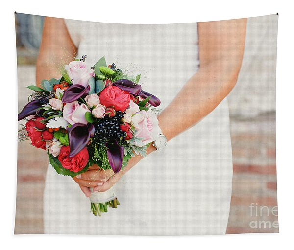 Bridal Bouquet Held By Her With Her Hands At Her Wedding Tapestry