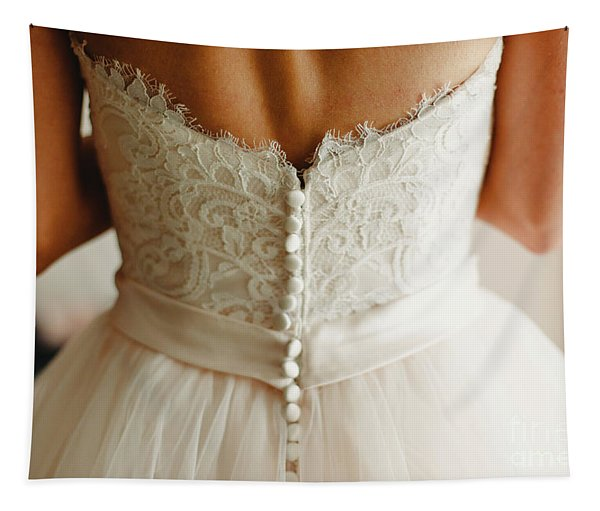 Bride Getting Ready, They Help Her By Buttoning The Buttons On The Back Of Her Dress. Tapestry