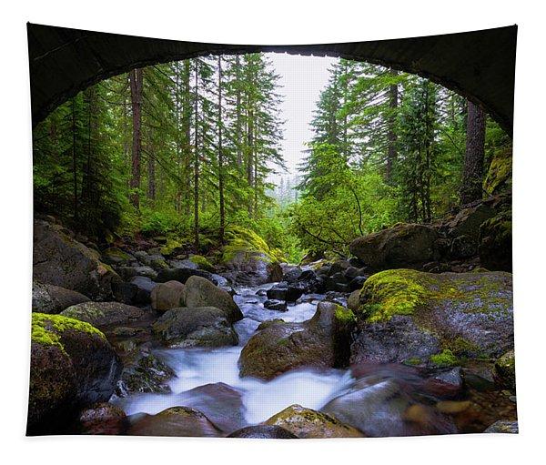 Bridge Below Rainier Tapestry