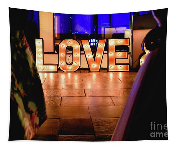 Bright Wooden Letters With Word Love In A Party Tapestry