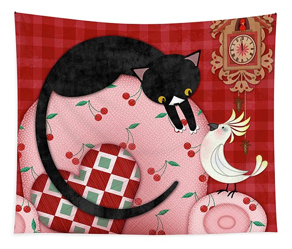 C Is For Cat, Cockatoo, And Coo Coo Clock Tapestry