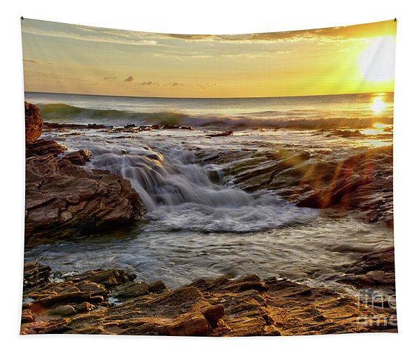 Cascading Sunset At Crystal Cove Tapestry