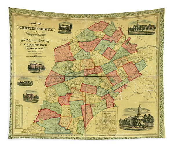 Chester County Pennsylvania Map 1856 Tapestry
