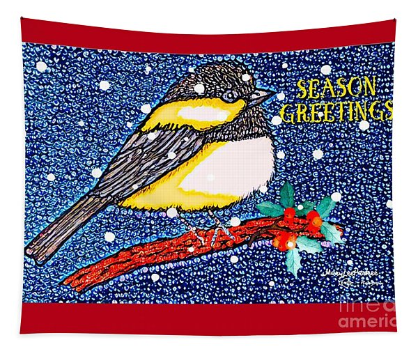 Chickedee Season Greeting Card  Tapestry