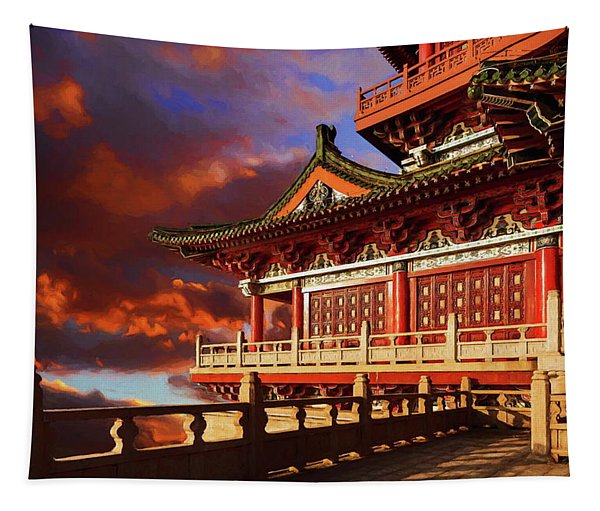 China Temple At Sunrise Tapestry