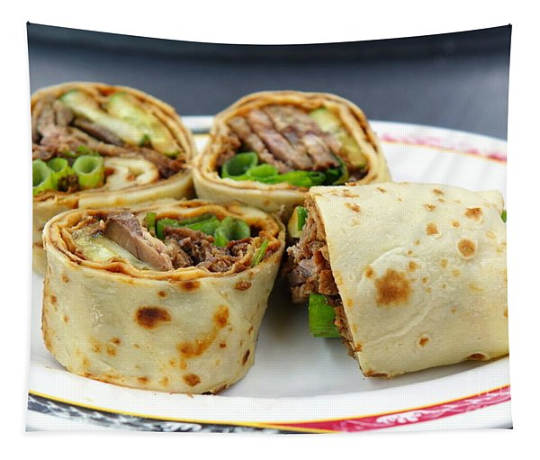 Chinese Pancake Roll With Cooked Beef Tapestry