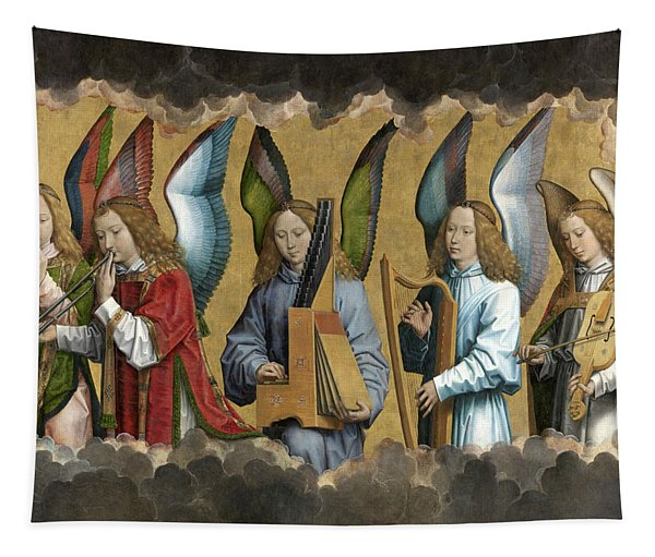 Christ With Singing And Music-making Angels - Panel 2 Tapestry